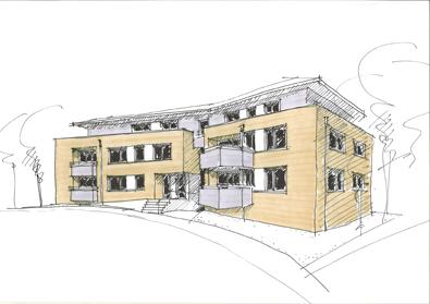 Skizze Haus mit Eigentumswohnungen in der Niemöllerallee in Lippstadt